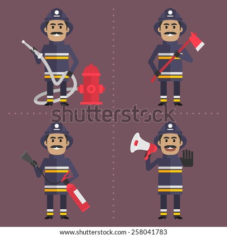 Firefighter in various poses holding tool - stock vector