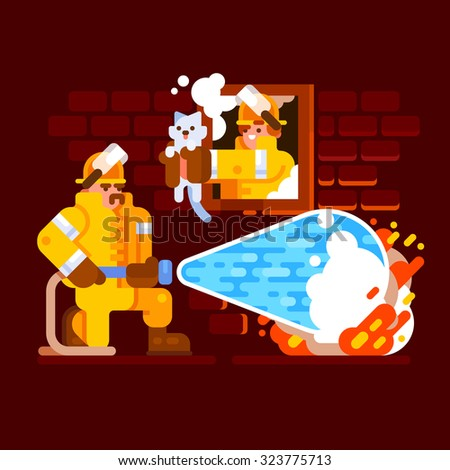 Firefighters extinguish a house and save a kitten. Vector flat illustration. - stock vector