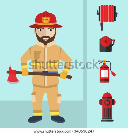 Firefighting and icons set inventory extinguishing fire rescue professional composition. - stock vector