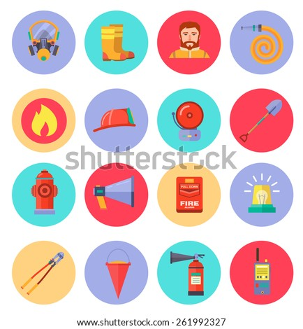 Firefighting character and  icons set  inventory extinguishing fire rescue professional composition. Vector illustration - stock vector