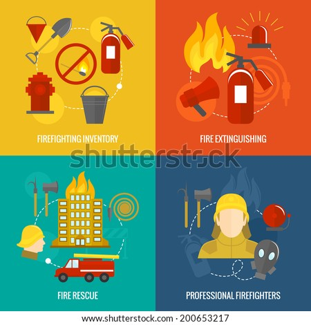 Firefighting icons  inventory extinguishing fire rescue professional composition isolated vector illustration - stock vector