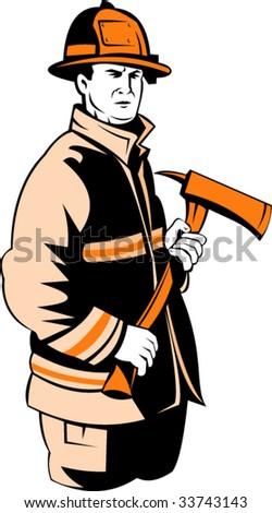 Fireman carrying an axe - stock vector