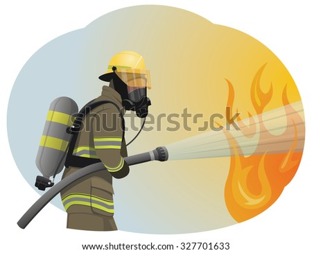 Fireman extinguishes the fire by spraying the water. He is clothed in a protective uniform. - stock vector