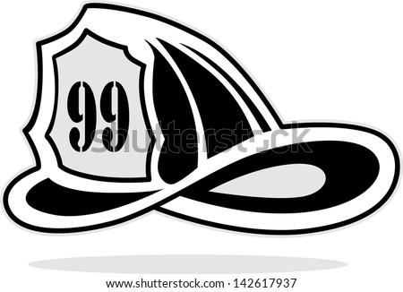 fireman helmet, vector illustration - stock vector
