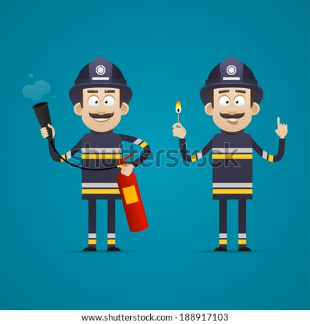 Fireman holds fire extinguisher and burning match - stock vector