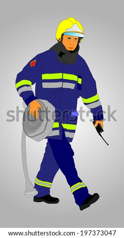 Fireman vector with fire hose isolated on gray background illustration.  - stock vector
