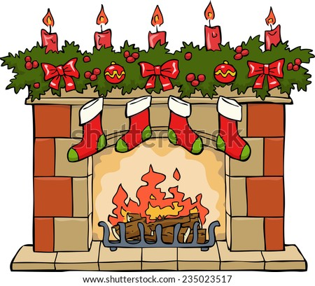 Fireplace in Christmas on a white background vector - stock vector
