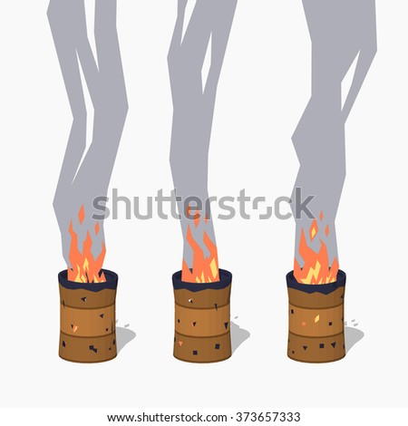 Fireplace in the old rusty barrel. 3D lowpoly isometric vector illustration. The set of objects isolated against the white background and shown from different sides - stock vector