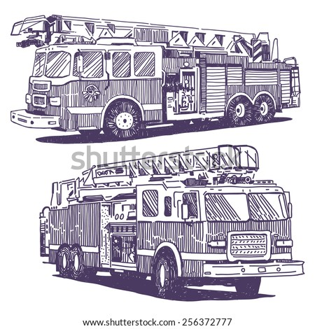 Firetruck vector drawings set on white background - stock vector