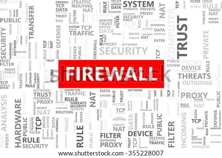 Firewall word in tag cloud, Internet security concept, Vector graphics - stock vector
