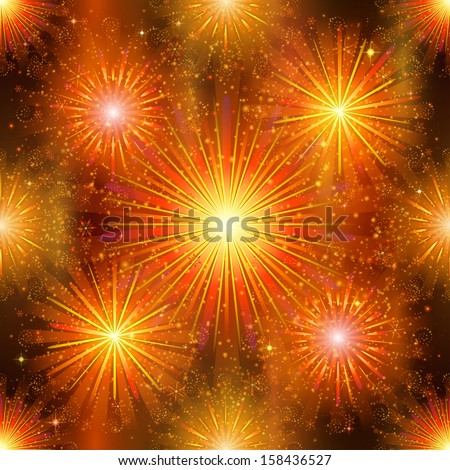 Firework background seamless, gold and orange on night sky. Pattern for holiday design. Vector eps10, contains transparencies - stock vector