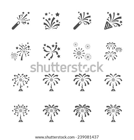 firework icon set 7, vector eps10. - stock vector
