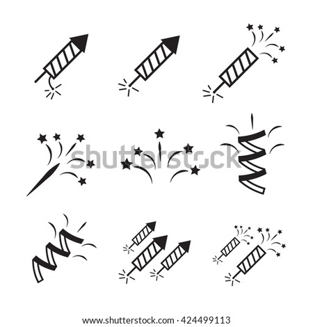 Firework icon set with petard and stars eps10 - stock vector
