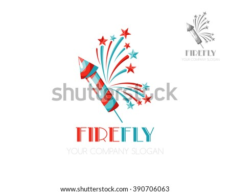 Firework icon. Vector logo template for salutes and events. - stock vector