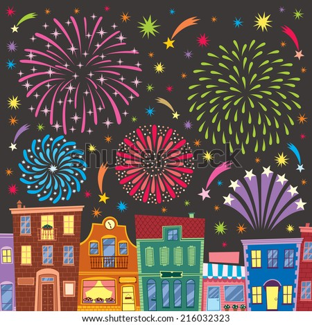 Fireworks above cartoon city. No transparency and gradients used. - stock vector