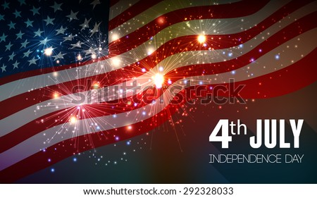 Fireworks background for 4th of July Independense Day - stock vector