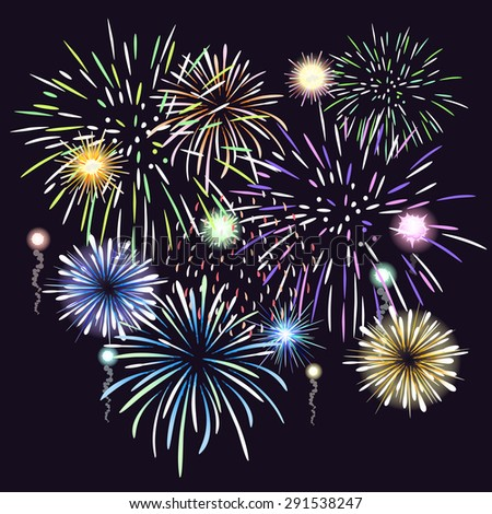 Fireworks. Celebration and holiday,festival and event, party bright colorful. Vector illustration - stock vector