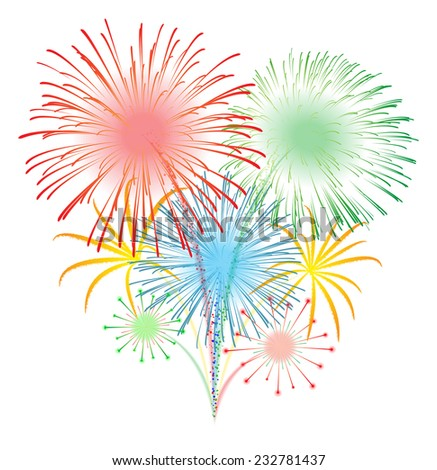Fireworks display illustration for New Year Celebration - stock vector