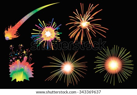 Fireworks, holiday salute in the night sky, vector illustration - stock vector