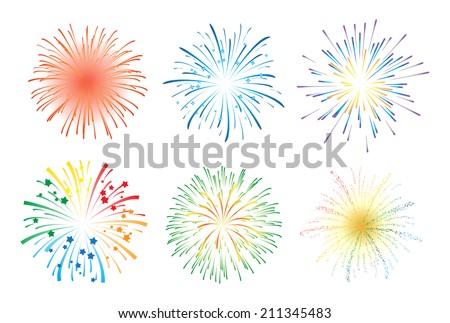 Fireworks illustration - stock vector