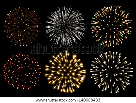 Fireworks set, EPS 10 contains transparency - stock vector