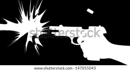 firing gun  - stock vector