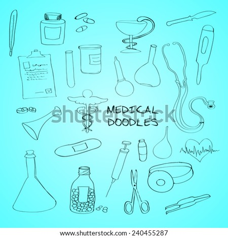 First aid bandage kit medical drugs pills syringe outline pictograms collection abstract outline doodle sketch vector illustration - stock vector