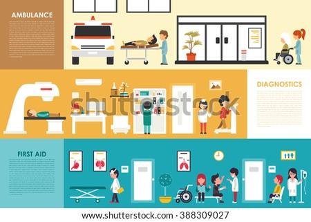 First Aid Diagnostics Ambulance flat hospital interior outdoor concept web vector illustration. Doctor, Healthcare, First Aid, Clinic. Medicine service presentation - stock vector