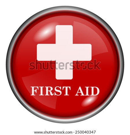First aid icon. Internet button on white background.  - stock vector