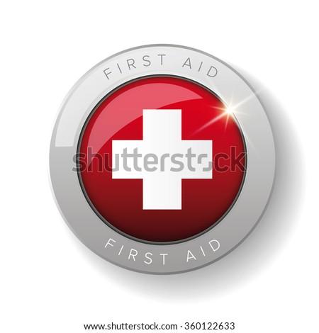 First aid icon vector button - stock vector