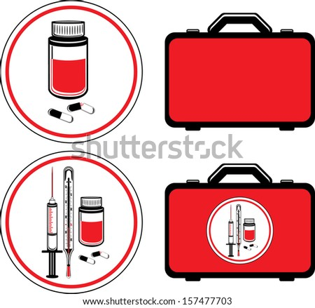 First aid kit and medical icons. Vector - stock vector