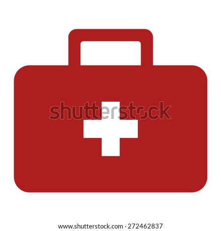 First aid kit flat icon for medical apps and websites - stock vector