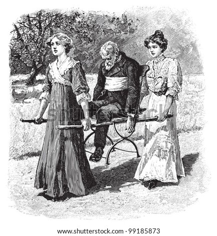 First aid - two Womans carrying an old man with a stretcher / vintage illustration from Die Frau als hausarztin 1911 - stock vector