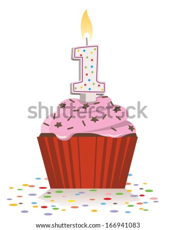 first birthday cupcake with lit candle in shape of number one - stock vector
