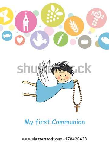 first communion. Angel with Crucifix - stock vector