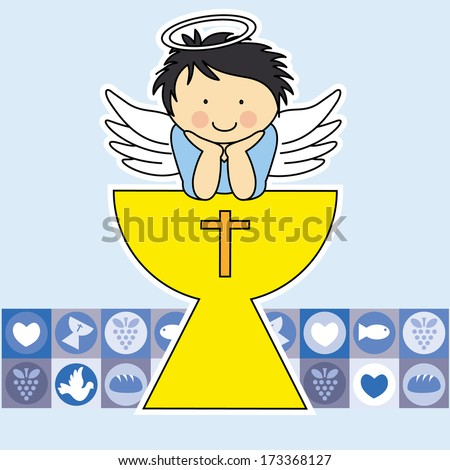 First communion card. Angel in the holy grail - stock vector