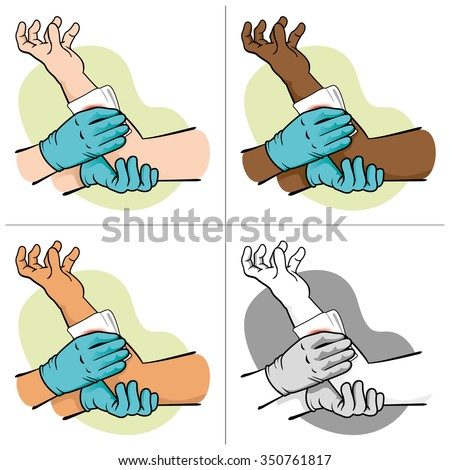 First control bleeding Aid elevating injured limb, ethnic. Ideal for medical supplies, educational and institutional - stock vector