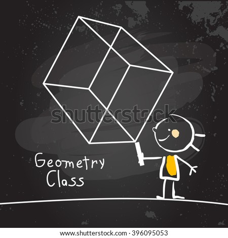 First grade geometry class education, hand drawn on blackboard with chalk. Hand drawing and writing doodle style, sketchy illustration.  - stock vector