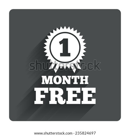 First month free medal with ribbon sign icon. Special offer symbol. Gray flat square button with shadow. Modern UI website navigation. Vector - stock vector