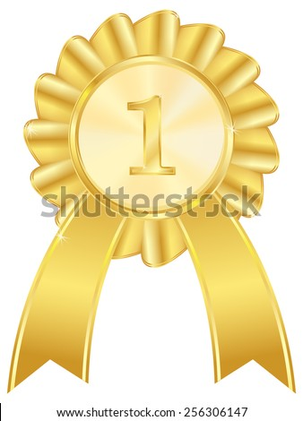 First place golden award ribbon - vector drawing isolated on white background - stock vector