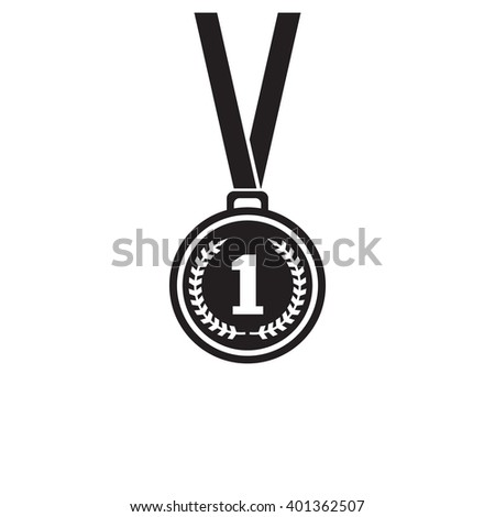 First place medal monochrome icon. Winner icon. Medal art. medal image. Design element in vector. - stock vector