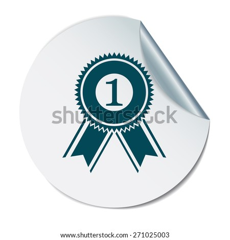 first place ribbon rosette icon. victory icon - stock vector
