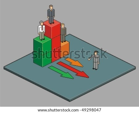 First, second and third place. Vector pixel art style illustration. - stock vector