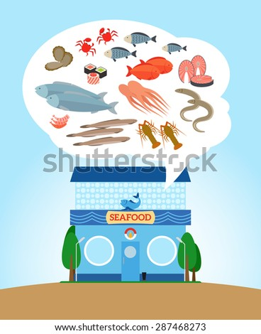 Fish and seafood store. Shop with healthy food - stock vector