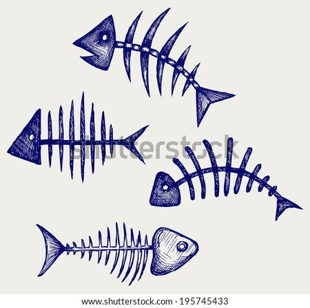 Fish bone. Doodle style - stock vector