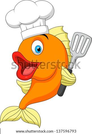 Fish chef cartoon - stock vector