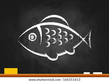 Fish drawing on blackboard - stock vector