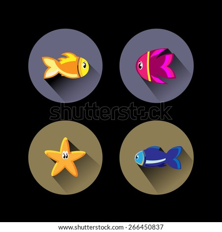 Fish flat design icons with shadow - stock vector