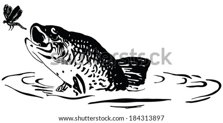 Fish hunts a dragonfly jumping out of the water. Cartoon. - stock vector