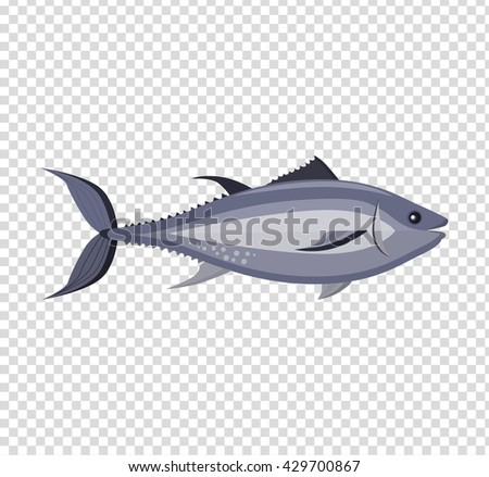 Fish icon design flat isolated. Fish sea animal or food, wildlife aquatic and nature ocean river fish, seafood life swimming with tail and fin, fauna marine style exotic, vector illustration - stock vector